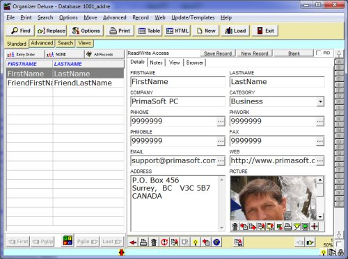 Free Address Home pc users database templates for Organizer