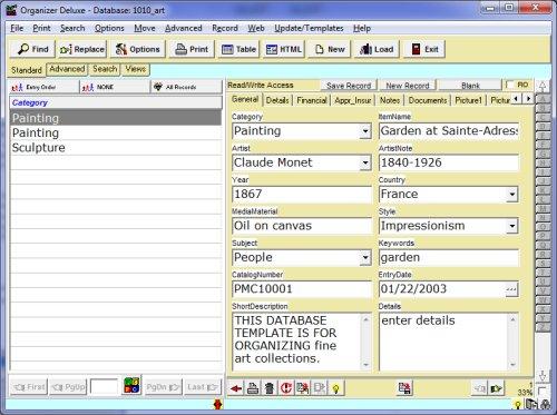 free art  fine art database template for organizer deluxe