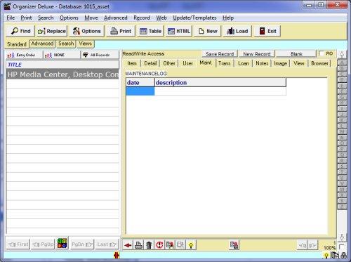 free asset organizer database template for organizer