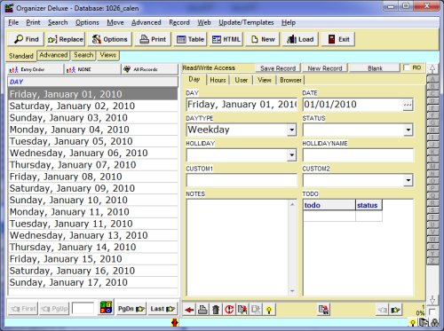 free calendar 2 database template for organizer deluxe and
