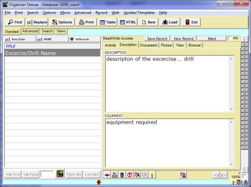Free Exercise Manager Database Template For Organizer