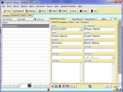 free coach team evaluation database template for organizer deluxe and pro users  windows