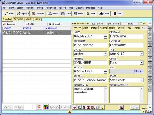 free club  junior membership database template for