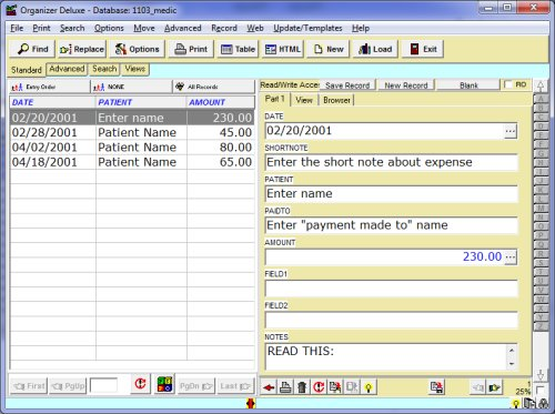 medical expense spreadsheet templates