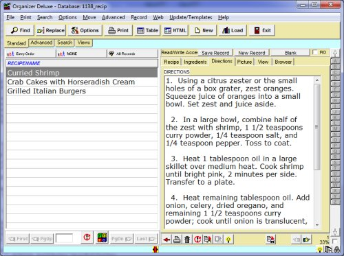 Free Recipe Organizer database template for Organizer Deluxe and ...