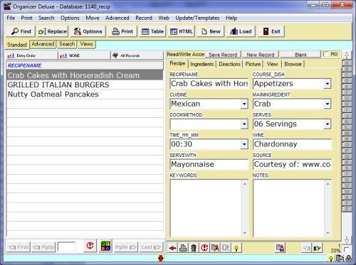 access recipe database template
