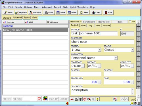 Free Task Job Manager 2 database template for Organizer Deluxe and – Free Job Card Template