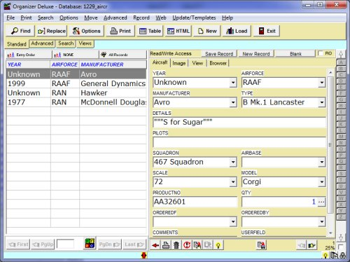 Free Aircraft model database template for Organizer Deluxe