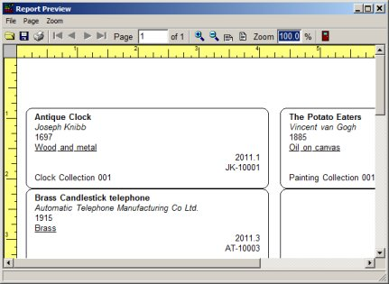 art antiques inventory software: print tag labels, item cards ...