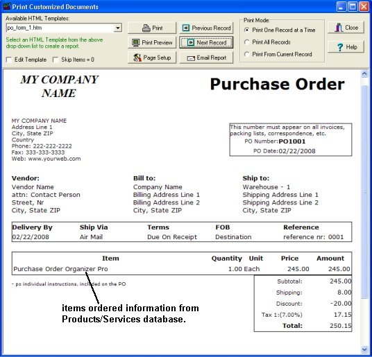 Purchase Order software enter products services – Purchase Order for Services Template