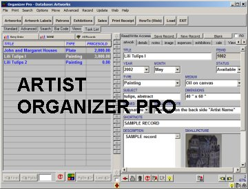 Business management software for artist