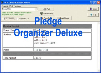 Database management software that helps you to keep track of simple pledges, donations