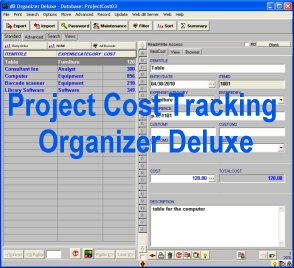 Click to view Project Cost Tracking Organizer Deluxe screenshots