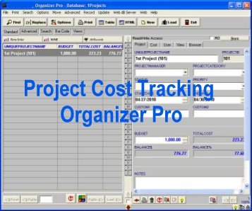 Project Cost Tracking database software for Windows.