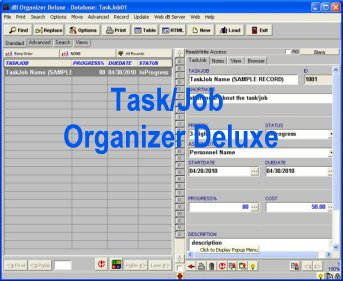 Task and job manager, database