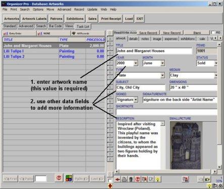 Artist Organizer Pro: simple database management system for artists