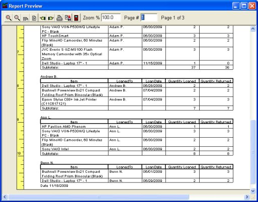 Equipment Tool Tracker, database tracking system for Windows.