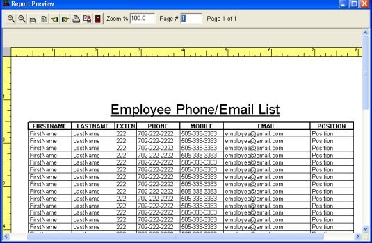 Simple Employee Phone Directory software for windows – Telephone List Template