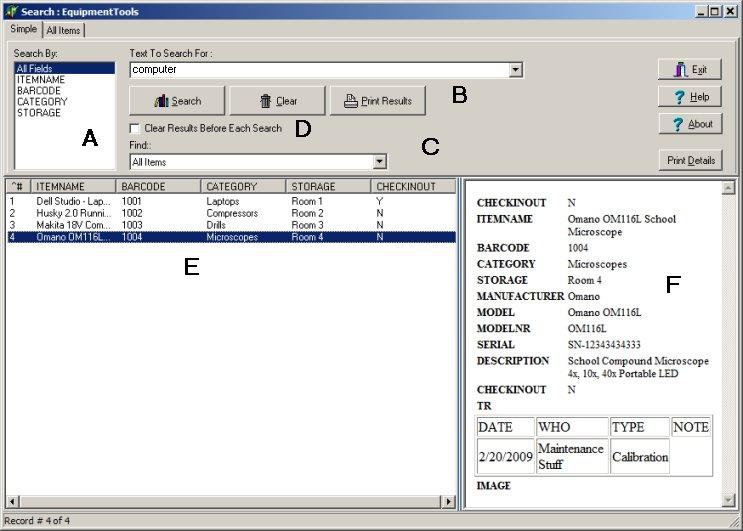equipment rental search utility