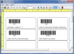 equipment software, print barcode labels