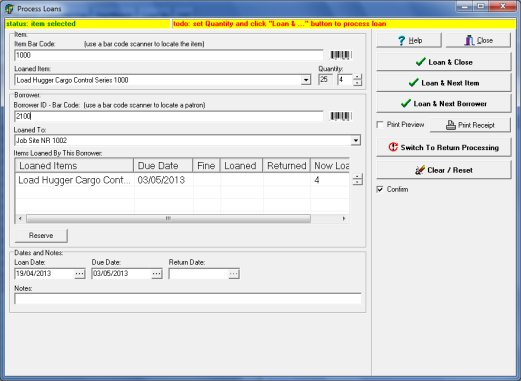 equipment software, check in out module