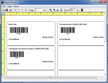 library label, barcode, title, location